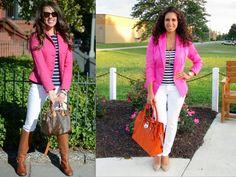 Pink Blazer, Navy & White Stripes, White Skinny Jeans
