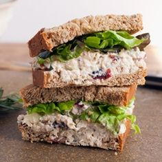 Cranberry Chicken salad sandwich. I would wrap the chicken filling in a big piece of lettuce - healthy and super light. cranberri pecan, chicken breasts, sandwich, chicken salads, apple cider vinegar, pecans, pecan chicken, cranberries, chicken salad recipes