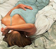 """Tossed and Turned"" - Daryl Zang (b. 1971) {contemporary figurative artist supine reclining female torso woman painting} Exhausted !!"