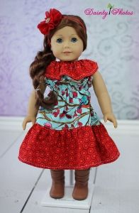 """Roses Ruffle Neck Dress 18"""" Doll Size PDF Sewing Pattern by Create Kids Couture"""
