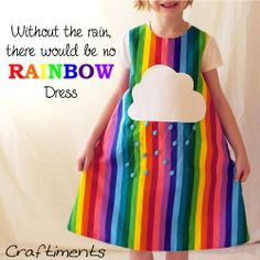 Craftiments: Rainbow striped jumper dress with cloud applique and raindrop shaped beads