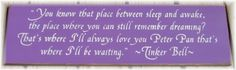 quotes, wood signs, bells, bell quot, places, sleep, tinker bell