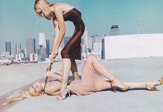 Kirsty Hume, Georgina Grenville, and killer heels by Ellen von Unwerth, Vogue, February 1997