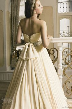 Bridal Ivory Cream - cream wedding dress with pleated bodice and skirt