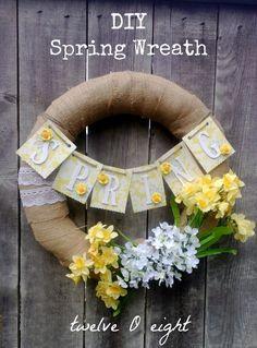 twelveOeight: DIY Burlap Spring Wreath