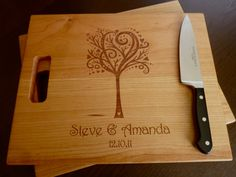 "Personalized Cutting Board, Custom Engraved - Cherry 12"" x 15"" for Families. Wedding Gift, Anniversary Gifts. $37.00, via Etsy."