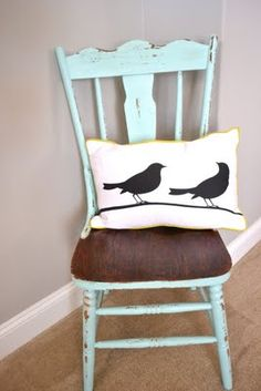 love the painted chair with stained seat....and the bird pillow----I WANT
