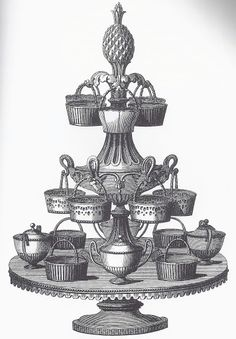 Queen's ware table centerpiece (epergne) as illustrated in Wedgwood's 1774 Catalogue.