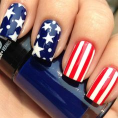cute forth of july nails if i could make stars