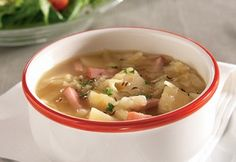 Cabbage-Potato Soup-This is an easy and healthy recipe for a hearty and delicious soup. It is also a WeightWatchers (4) PointsPlus recipe. Only 1 hour 10 minutes total time to prepare and cook. Ham, potatoes and cabbage are the main ingredients for this delicious and hearty soup. Makes 6 generous  (2 cup) servings.