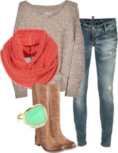 light brown sweater, brown boots, light colored skinny's, orange/red infinity scarf, teal and gold ring