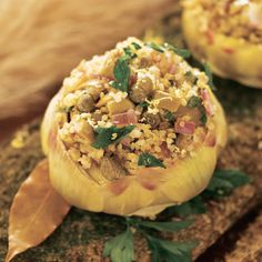 artichokes stuffed w/ quinoa, olives and capers