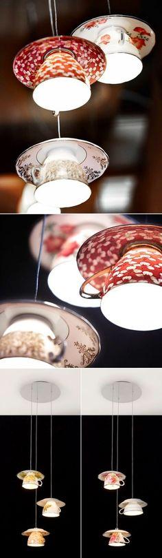pendant lighting, lamp ideas, cozi lamp, string lights, cup lamp, tea cup, teacup, tea lights