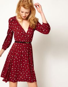 wrap dresses, hair colors, wear robin, deep autumn, bird prints, robins, wardrobe malfunction, robin wrap, fall dresses