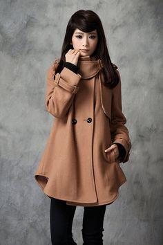Wool Coat Jacket for Women Winter Coat  Tan Dress  by deboy2000, $108.99