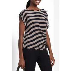Lacey Striped Silk Top - BCBG