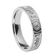 Unisex Warrior Shield Celtic Wedding Band-Silver-From Ireland  Price : $95.95 - $149.95 http://www.biddymurphy.com/Unisex-Warrior-Wedding-Band-Silver-From-Ireland/dp/B00D5V92QO