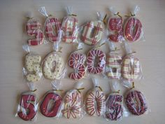 Cookies are cute ideas for a 50 birthday party favors, especially wrapped in a clear bag and tied.