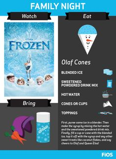 "You don't need to ""let it go"" with a Frozen #movienight. Bring the family together with this recipe for Olaf snow cones, and bundle up for a fun evening of singing, snow, and Disney."