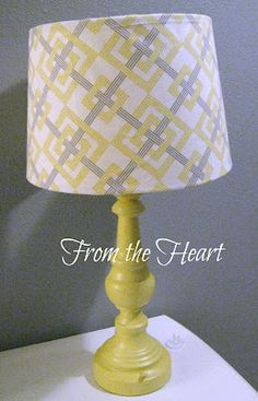 Love the yellow & gray in this DIY spraypainted & fabric covered lampshade