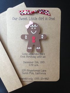 Gingerbread Girl Handmade Invitations, Custom Made for Birthday Party, Christmas Party, or Baby Shower on Kraft Paper