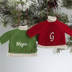 These Personalized Christmas Sweater Ornaments are so precious! #Christmas #Sweater #Ornament