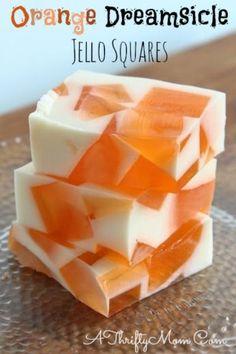 Orange Dreamsicle Jello Squares, COOL summer treats #Recipe, #Food, #Fanta, #BlueBell, #summer