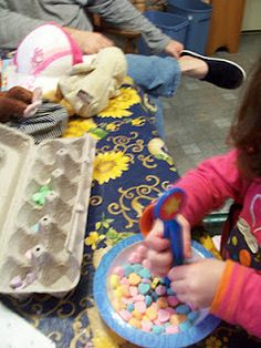toddler sorting game with conversation hearts
