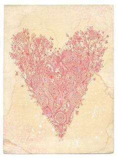 Love art print in pink  fine archival art by Paula Mills  for lovelysweetwilliam, $25.00