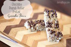 Chocolate, Peanut Butter, Pretzel GRANOLA BARS #Granola