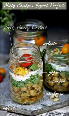 Minty chickpea yogurt parfaits