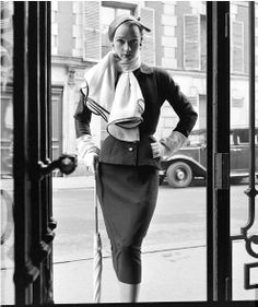 1952 - Givenchy suit on Sophie Malgat
