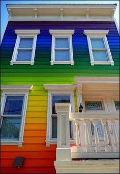 Rainbow house! goo.gl/33uo5 white houses, facad, beach houses, bomb, exterior colors, paint, rainbow, bold colors, exterior color schemes