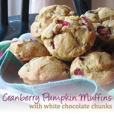 Pumpkin Cranberry Muffins with White Chocolate Chunks
