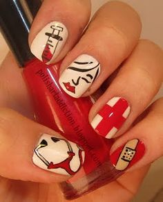 nurse nails! How cute!.. sad i could only rock these bad boys on vacation :(