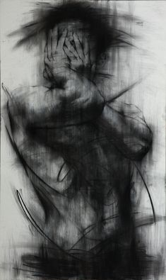 """Saatchi Online Artist: KwangHo Shin; Charcoal, 2013, Drawing """"[90] untitled charcoal on canvas 162 x 96.5 cm 2013 [Exhibition]""""  Some days I feel like this"""