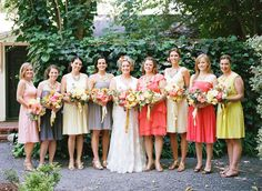 love these bright + cheerful bridesmaids
