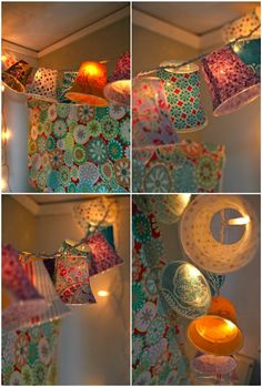 Cover plastic cups in fabric, attach to string lights! Pretty. Great decor for a party.