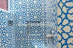 Hope Alexander-designed bathroom with Granada Tile Alhambra pattern