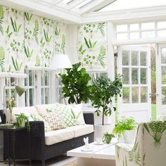 Conservatory ideas roll down blinds? Sofa and piano? Could match piano seat to blind fabric.