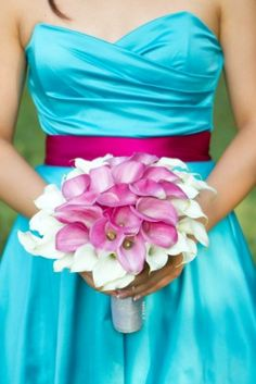 Colorful Pink Blue DIY Maryland Wedding Calla Lily Bouquet. This is exactly what i would like for my bridesmaids!