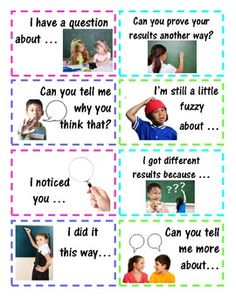 Accountable Math Talk Stems for Students - Statements and