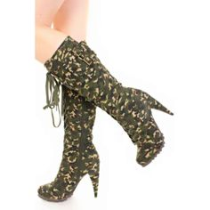 Camouflage Lace Up Buckle Heel Tall Boots