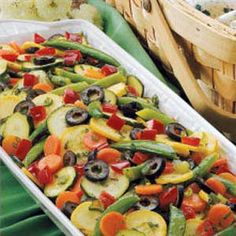 Summer Veggie Salad - our new go-to salad; ... Can use chives instead of green onion, omit olives if preferred, double green beans if snap peas arent available. We like to dice the squash and lighten the dressing.