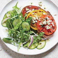 Tomato and Feta Toasts with Mixed Greens Salad   CookingLight.com