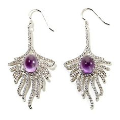 """Rarities: Fine Jewelry with Carol Brodie Amethyst and White Topaz """"Peacock"""" Earrings at HSN.com."""