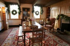 """Here is a great example of what American Colonial homes looked like. """"the Early American style is more casual and rustic. It was certainly considered to be much more comfortable. For the Early American room, most early 20th C. designers favored painted walls and woodwork. Early American furniture tended to be a little heavier. Antiques were more likely farm furnishings"""""""