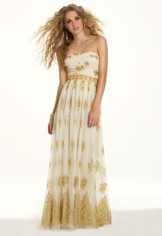 Camille La Vie Strapless Glitter Mesh Prom Dress