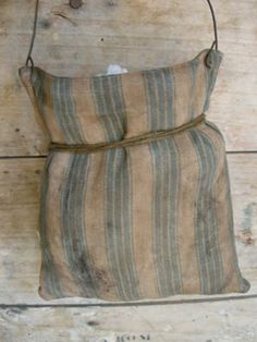 LOVE old ticking! This was a bag I made and aged up old ticking..good good prim tone! I need that bag! :  )