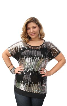 #plus #size dolman sleeve asymmetrical banded bottom top with #sequin front  $26.50